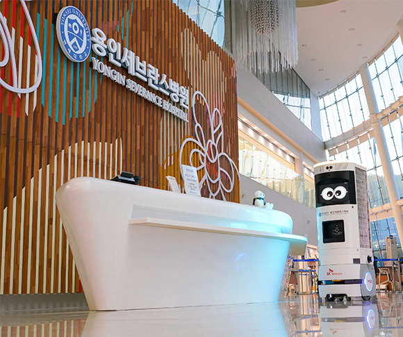 SK텔레콤, SKT, 용인세브란스병원, 5G복합방역로봇, Keemi, 비누, 스마트병원, 로봇, 병원로봇, 방역로봇, ESG, UVC방역모듈, 감염관리시스템, 방역로봇솔루션